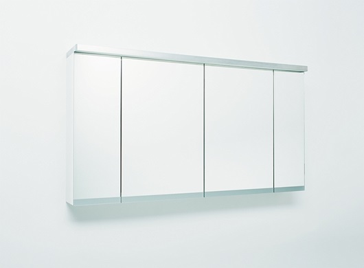 Glow mirror cabinet with lighting, four doors